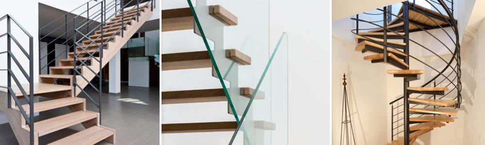 Treppen aus Holz und Metall / Glas
